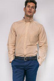 Ανδρικό μακρυμάνικο πουκάμισο καρό The Bostonians - AAP0016 - Κίτρινο