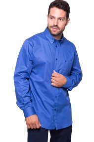 The Bostonians ανδρικό πουκάμισο μονόχρωμο με τσέπη και λογότυπο - AAP1050 - Μπλε