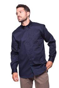 The Bostonians ανδρικό πουκάμισο μονόχρωμο με τσέπη και λογότυπο - AAP1050 - Μπλε Σκούρο