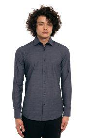 The Bostonians ανδρικό πουκάμισο μονόχρωμο με μικρό γιακά - ACP1223 - Ανθρακί