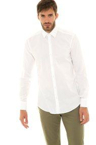 The Bostonians ανδρικό πουκάμισο μονόχρωμο με στρογγυλεμένο στρίφωμα (sizes 39-46) - ACP1375 - Λευκό