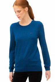 Lacoste γυναικείο μάλλινο πουλόβερ με ton-sur-ton logo patch - AF8728 - Μπλε