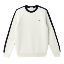 Lacoste ανδρικό πουλόβερ μονόχρωμο με color band στα μανίκιακαι στους ώμους Made In FranceCollection  - AH9163 - Λευκό