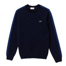 Lacoste ανδρικό πουλόβερ μονόχρωμο με color band στα μανίκιακαι στους ώμους Made In FranceCollection  - AH9163 - Μπλε