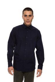 The Bostonians ανδρικό πουκάμισο μακρυμάνικο μονόχρωμo - AMCH7456 - Μπλε Σκούρο