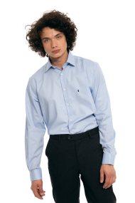 The Bostonians ανδρικό πουκάμισο μονόχρωμο με μικρό γιακά και λογότυπο - AMP1219 - Γαλάζιο