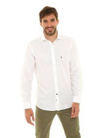 The Bostonians ανδρικό πικέ πουκάμισο μονόχρωμο (sizes 39-46) - ANP1278 - Λευκό