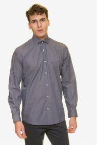 The Bostonians ανδρικό πουκάμισο μονόχρωμο με κεντημένο λογότυπο - ANP1509 - Γκρι