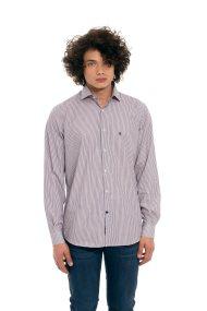 The Bostonians ανδρικό ριγέ πουκάμισο με κεντημένο λογότυπο - ANS4334 - Μπορντό