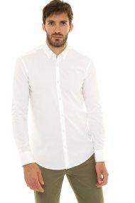 The Bostonians ανδρικό πουκάμισο μονόχρωμο με λογότυπο στο μανίκι (sizes 39-46) - AYP0571 - Λευκό