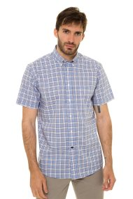 The Bostonians ανδρικό καρό κοντομάνικο πουκάμισο με κουμπιά στον γιακά και τσέπη (sizes 39-46) - BACH7570 - Γαλάζιο