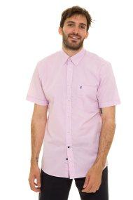 The Bostonians ανδρικό μονόχρωμο πουκάμισο με κοντά μανίκια - BAP0016 - Ροζ