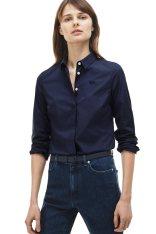 169f79865c80 Γυναικείο πουκάμισο μονόχρωμο Modern Heritage Lacoste - CF7907 - Μπλε Σκούρο