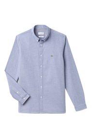 Lacoste ανδρικό πουκάμισο μονόχρωμο slim fit - CH0763 - Γαλάζιο