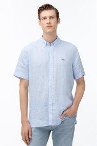 Lacoste ανδρικό λινό πουκάμισο με κοντό μανίκι Regular fit - CH4991 - Ανοιχτό Γαλάζιο