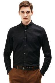 Ανδρικό μακρυμάνικο πουκάμισο slim fit poplin Lacoste - CH9628 - Μαύρο