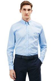 Ανδρικό μακρυμάνικο πουκάμισο slim fit poplin Lacoste - CH9628 - Γαλάζιο