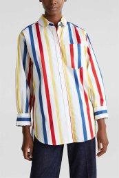 Esprit γυναικεία ριγέ πουκαμίσα με ασύμμετρο τελείωμα - 020EE1F321 - Λευκό