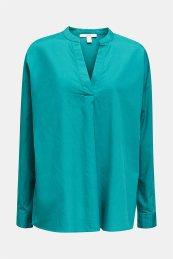 Esprit γυναικεία πουκαμίσα μακρυμάνικη με μάο γιακά - 030EE1F324 - Πετρόλ