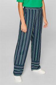 Esprit γυναικεία ριγέ παντελόνα με ελαστική μέση - 039EE1B030 - Μπλε Σκούρο