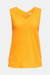 Esprit γυναικεία λινή μπλούζα αμάνικη με V λαιμόκοψη - 040EE1K392 - Πορτοκαλί