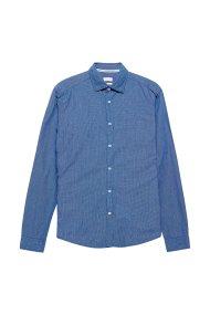 Esprit ανδρικό πουκάμισο με μικροκαρό - 078EE2F005 - Μπλε