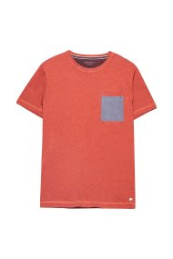 Esprit μονόχρωμο ανδρικό T-shirt με τσεπάκι - 078EE2K013 - Κοραλί