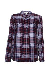 Esprit γυναικείο καρό πουκάμισο με τρούκ - 088EE1F026 - Μπλε Σκούρο