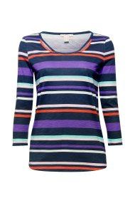 Εsprit γυναικεία ριγέ μπλούζα με μανίκια 3/4 και cut-outs - 088EE1K031 - Μπλε Σκούρο