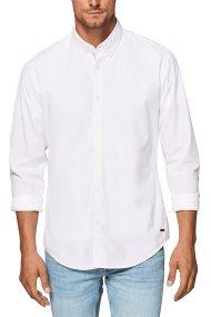 Esprit ανδρικό πουκάμισο μονόχρωμο slim - 098EE2F007 - Λευκό