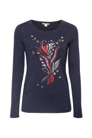 Esprit γυαναικεία μπλούζα με τύπωμα - 108EE1K027 - Μπλε Σκούρο
