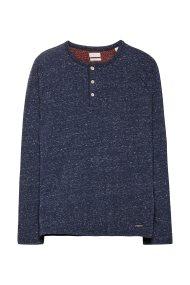 Εsprit ανδρικό μπλουζάκι μακρυμάνικο με κουμπιά - 108EE2K003 - Μπλε Σκούρο