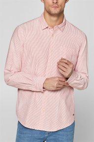 Esprit ανδρικό ριγέ βαμβακερό πουκάμισο με τσέπη - 128EE2F008 - Κοραλί