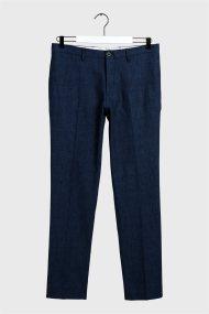 Gant ανδρικό λινό παντελόνι μονόχρωμο - 1505066 - Μπλε Σκούρο