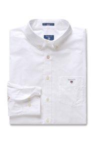 Ανδρικό μονόχρωμο πουκάμισο Broadcloth Regular Gant - 3046400 - Λευκό