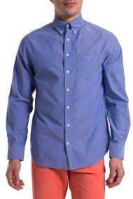 Ανδρικό μονόχρωμο πουκάμισο Broadcloth Regular Gant - 3046400 - Μπλε