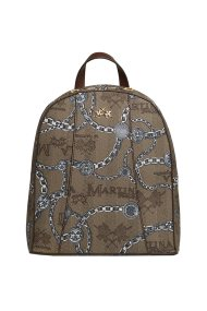 La Martina γυναικείο backpack με logo και print αλυσίδα - 41W226-M0012 - Καφέ