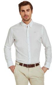 La Martina ανδρικό πουκάμισο με μικρό logo Leon - CCMC02-PP003 - Λευκό