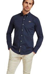 La Martina ανδρικό πουκάμισο με μικρό logo Leon - CCMC02-PP003 - Μπλε Σκούρο