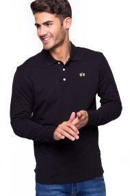 La Martina ανδρική μπλούζα με μακρύ μανίκι Manley - CCMP04-PK001 - Μαύρο