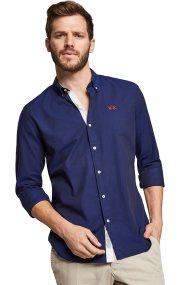 La Martina ανδρικό πουκάμισο μπλε σκούρο Leon - MMC011-OX052 - Μπλε Σκούρο