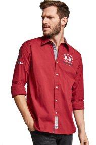 La Martina ανδρικό πουκάμισο Valentino - MMC312-PP003 - Κόκκινο