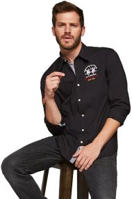 La Martina ανδρικό πουκάμισο Valentino - MMC312-PP003 - Μαύρο