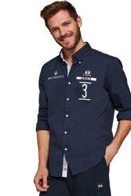 La Martina ανδρικό πουκάμισο Gervasio - MMCM60-PP003 - Μπλε Σκούρο