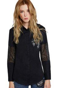 La Martina γυναικείο πουκάμισο με κέντημα Lindy - MWC003-PP425 - Μαύρο