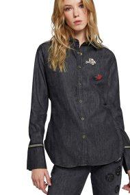 La Martina γυναικείο πουκάμισο denim Kara - MWC303-DM039 - Μαύρο