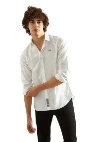 La Martina ανδρικό πουκάμισο slim fit Antonello - NMC009-PP003 - Λευκό