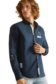 La Martina ανδρικό πουκάμισο Warwick - NMC307-PP003 - Μπλε Σκούρο