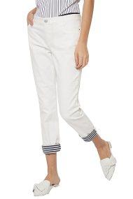 Nautica γυναικείo παντελόνι πεντάτσεπο με ριγέ ρεβέρ - 91P162 - Λευκό