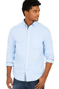 Nautica ανδρικό πουκάμισο Classic fit soft wash long sleeve button down - W73000 - Γαλάζιο